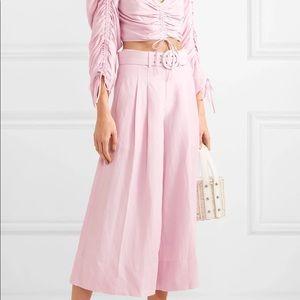 NWT NICHOLAS Belted silk & linen wide-leg pants 2